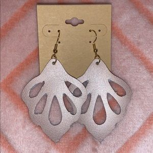 Rose Gold Leather Cutout Earrings